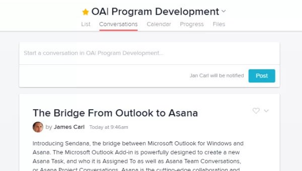 Sendana , Microsoft Outlook Add-In for Asana